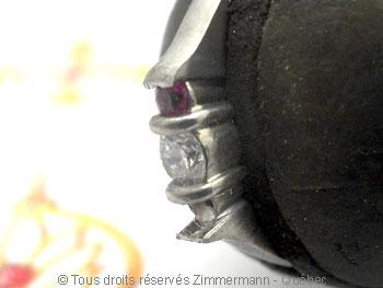 Bague palladium, diamant 15/100 ct et deux saphirs roses Bapabf22