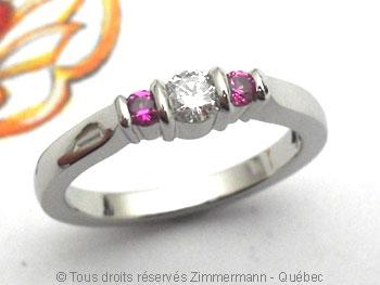 Bague palladium, diamant 15/100 ct et deux saphirs roses Bapabf23