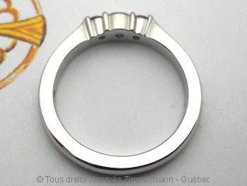 Bague palladium, diamant 15/100 ct et deux saphirs roses Bapabf24