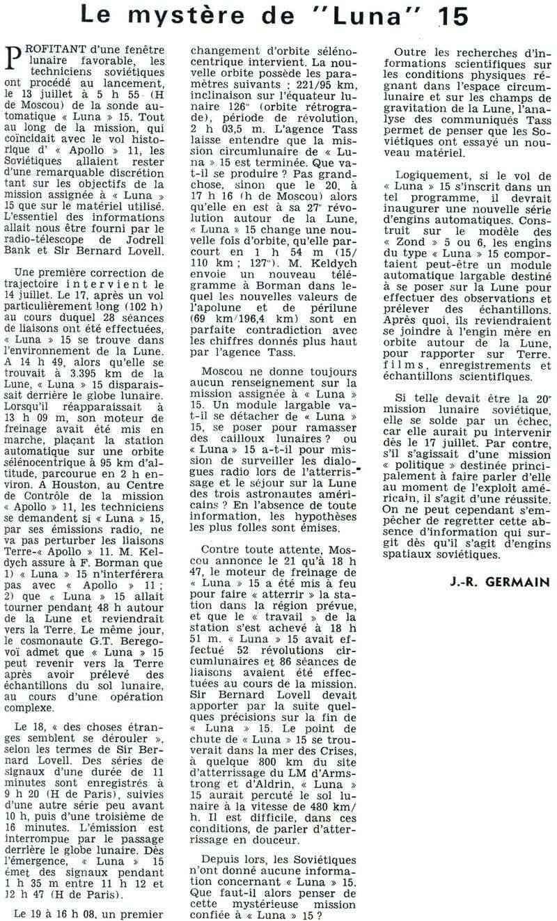 13 juillet 1969 - Luna 15, le joker soviétique 69090110