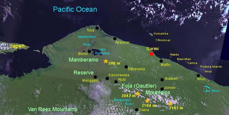 La faune Mamberamo - Lac Rombebai  - Foja  (Irian Jaya)  Nouvelle-Guinée occidentale Map_fo10