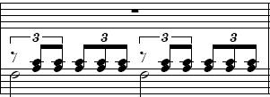 A triplet of a half note and two eight notes? Stripl10