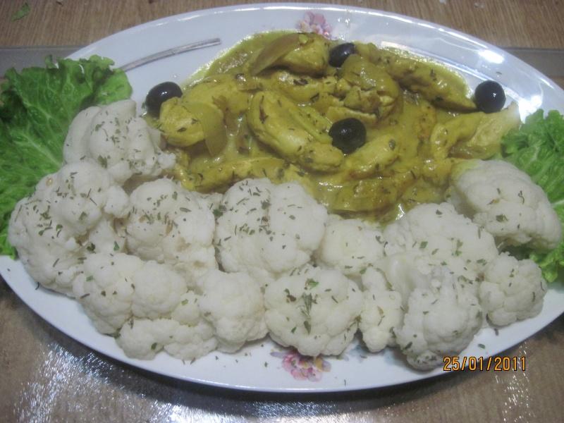 aiguillettes de poulet au chou-fleur,sauce curry. Coupes17
