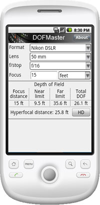 Calculez votre profondeur de champ sur smarphone Androi11