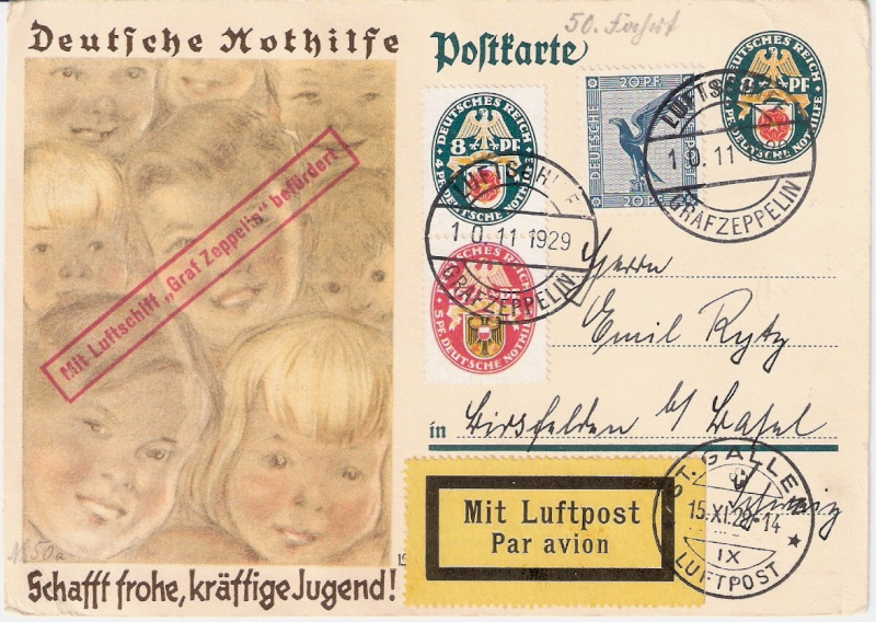Zeppelinpost mit Zusammendrucken Scanne24