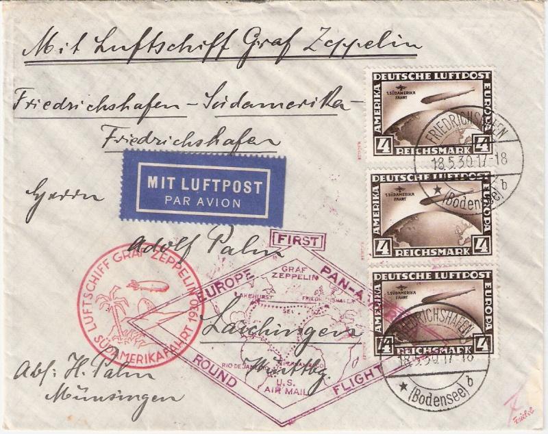 """Südamerikafahrt 1930 (Rundfahrt-) Post nach Friedrichshafen"""" - Seite 3 Scanne25"""