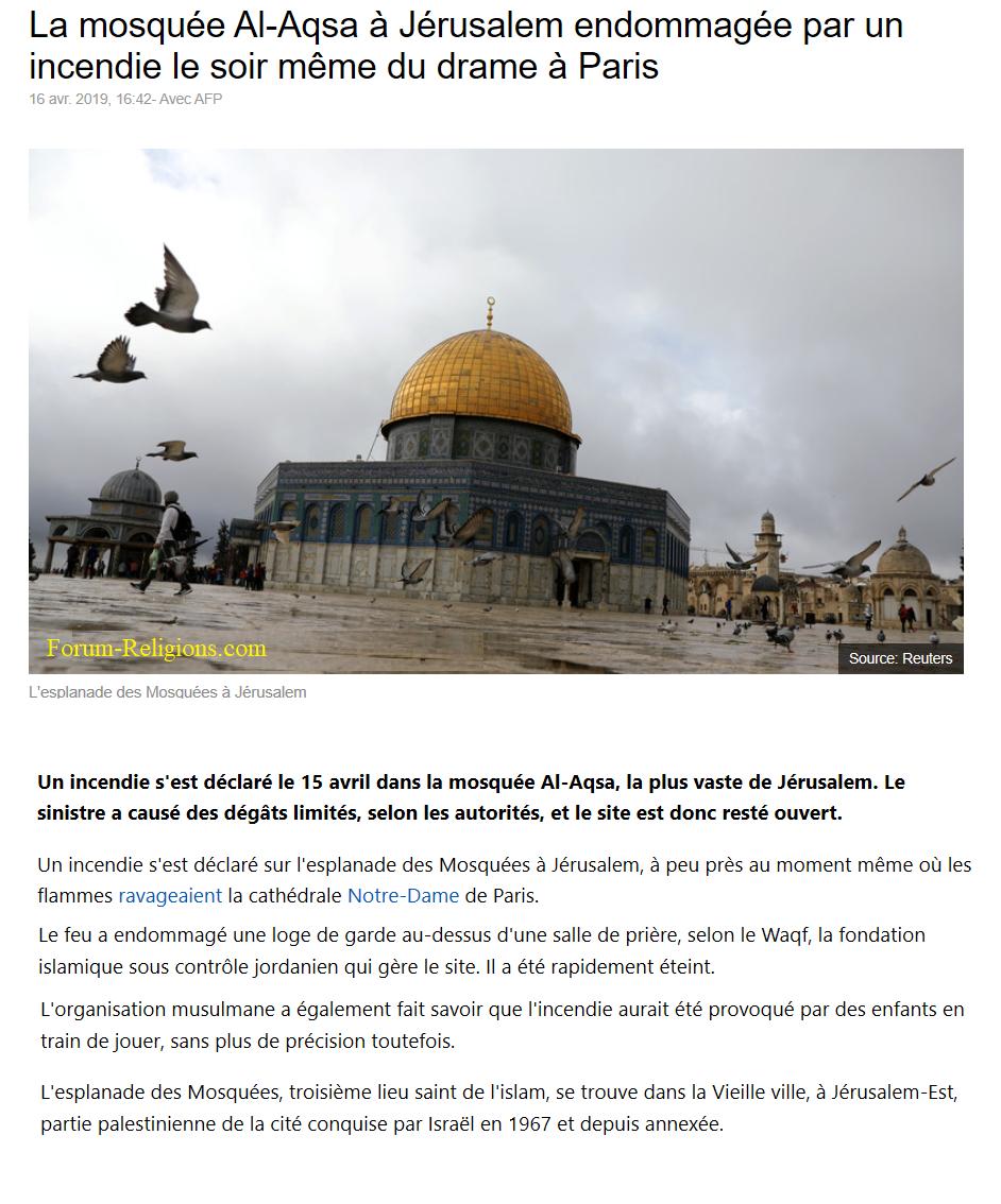La mosquée Al-Aqsa à Jérusalem endommagée par un incendie le soir même du drame à Paris  Mosque10
