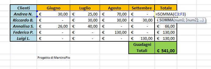 Come sommare delle caselle in Excel 2007 Excel210