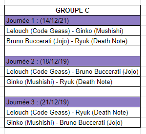 [MF Tournament] Groupes et calendrier Calc10