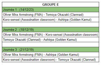 [MF Tournament] Groupes et calendrier Cale10