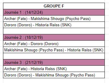 [MF Tournament] Groupes et calendrier Calf10
