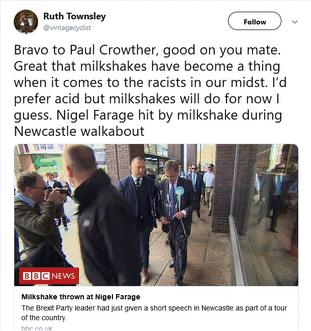 Nigel Farage slams 'radicalised Remainers' after he is pelted with MILKSHAKE during European election tour to Newcastle as politicians from BOTH sides slam 'violent and intimidating' trend 17710