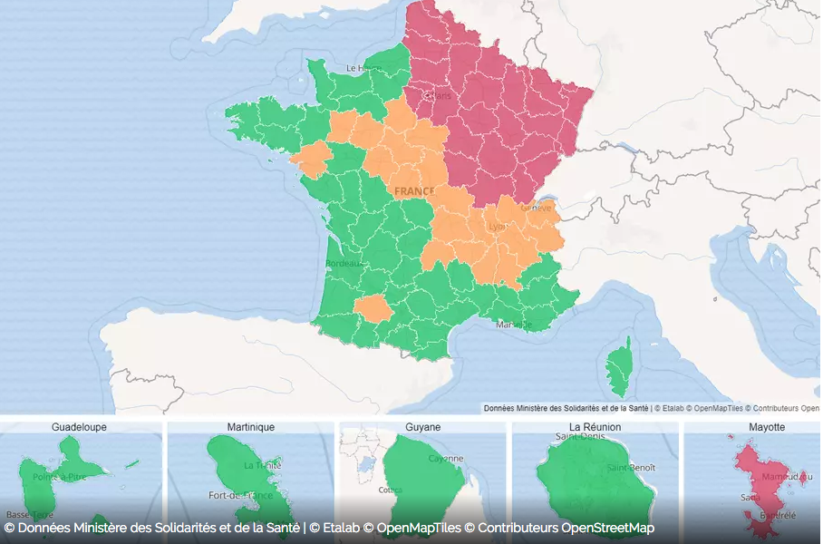 Maladies Coronavirus : Carte de l'évolution de l'épidémie en France Captur14