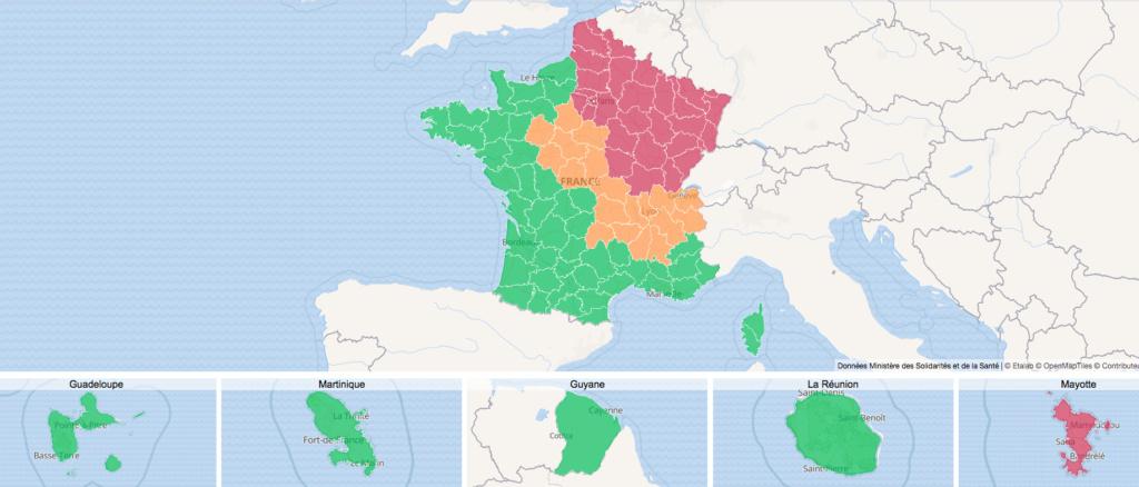 Maladies Coronavirus : Carte de l'évolution de l'épidémie en France Captur15
