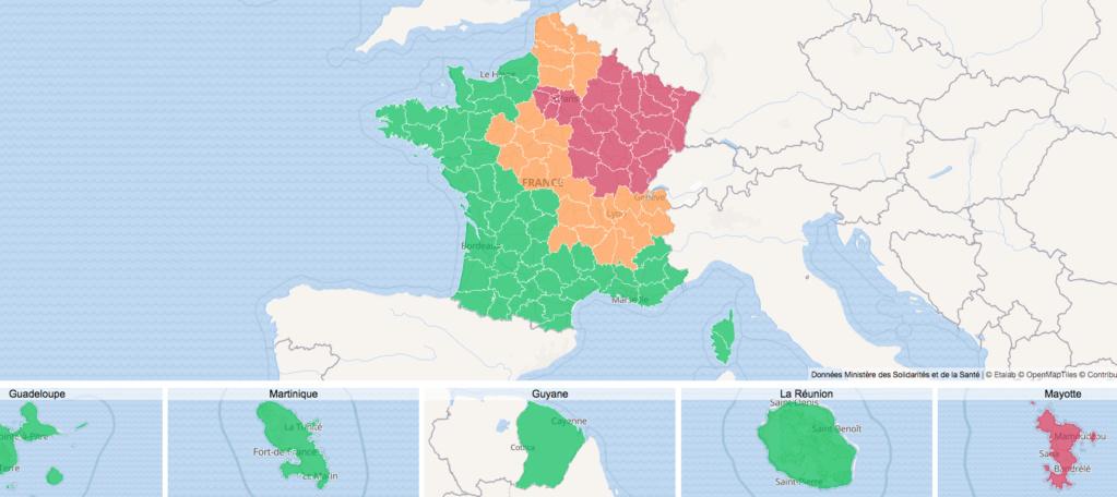 Maladies Coronavirus : Carte de l'évolution de l'épidémie en France Captur16