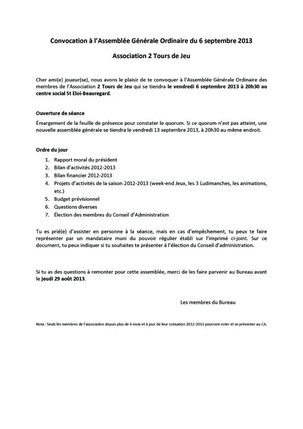 Convocation AG du 6/9/2013 Ag_20113