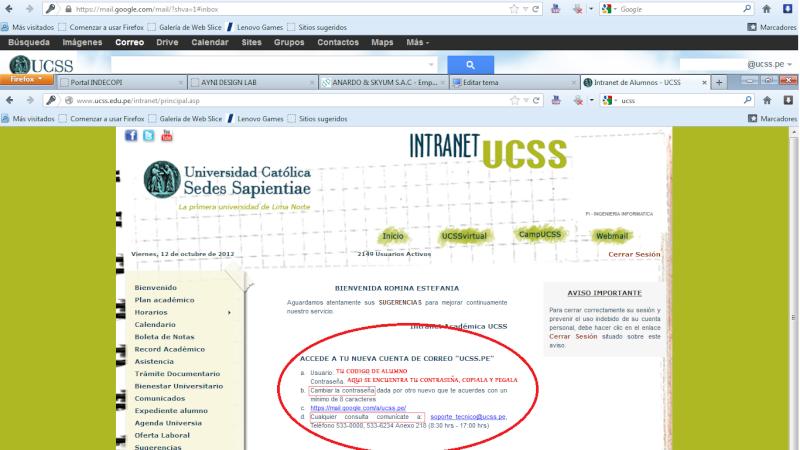 ¿Ya tienes tu correo ucss.pe(Google +)? (Si tienes problemas entra) Correo11