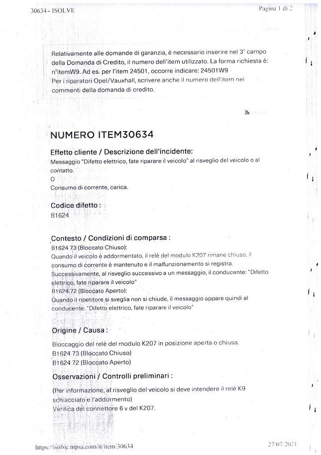 Anomalia Impianto elettrico + Anomalia motore Item_o10