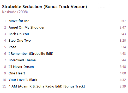 Kaskade - Strobelite Seduction (Bonus Track Version) [iTunes Plus AAC M4A] - Album Captur37