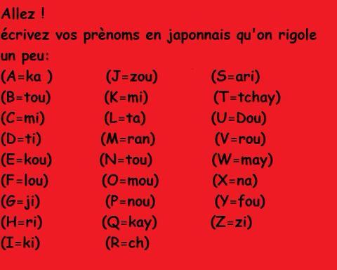 Ecrivez votre prénom en Japonais qu'on rigole ! 10166010
