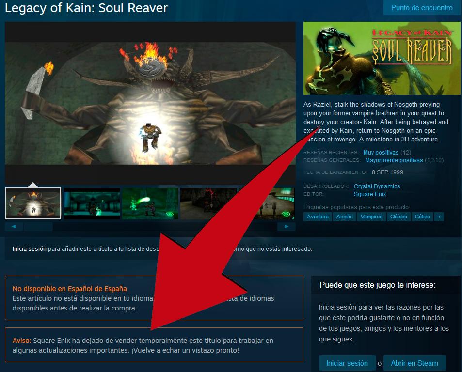 Soul Reaver retirado temporalmente de Steam ??? Una nueva saga encamino?? Sin-tz11