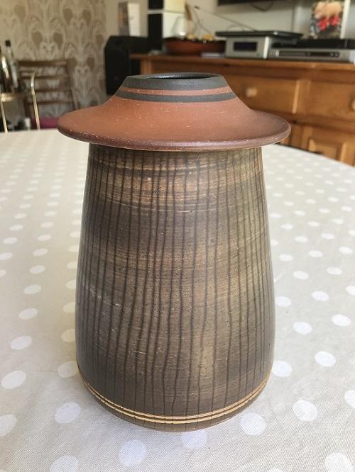 Who threw this unusal studio vase? sgraffito lines decoration  Img_9213