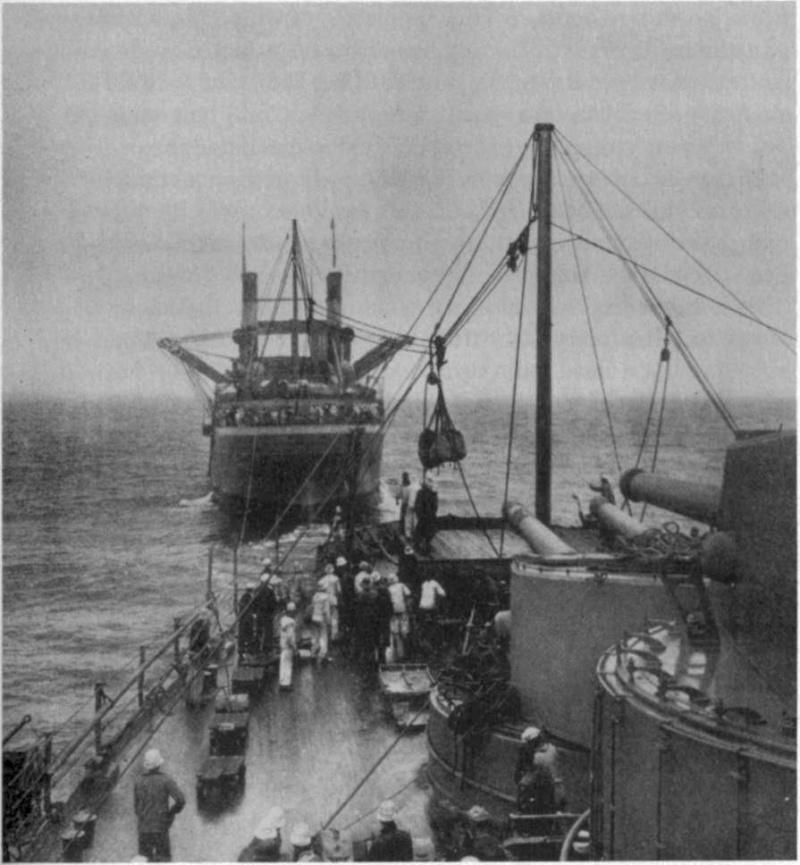 Les débuts du ravitaillement à la mer  Uss_cy10