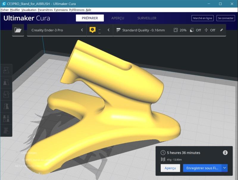 Impression 3D FDM: le support d'aérographe 3dsupa10