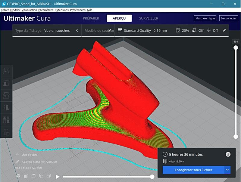 Impression 3D FDM: le support d'aérographe 3dsupa11