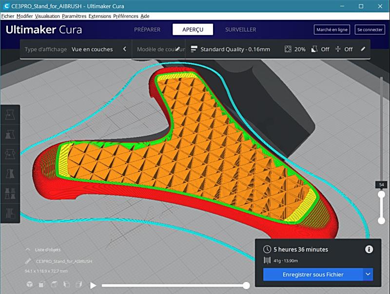 Impression 3D FDM: le support d'aérographe 3dsupa12
