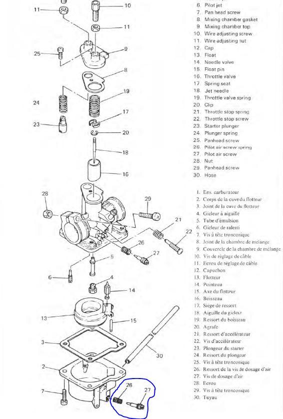 cyclo MBK CT50 3DL moteur yamaha  Carbu10