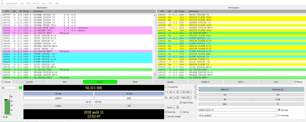 activité en FT8 sur 50mhz 39510