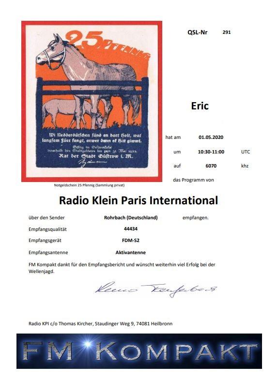 eQSL de radio KLEINE PARIS INTERNATIONAL Captur26