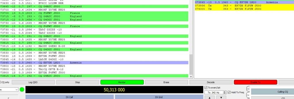 activité en FT8 sur 50mhz Ek710