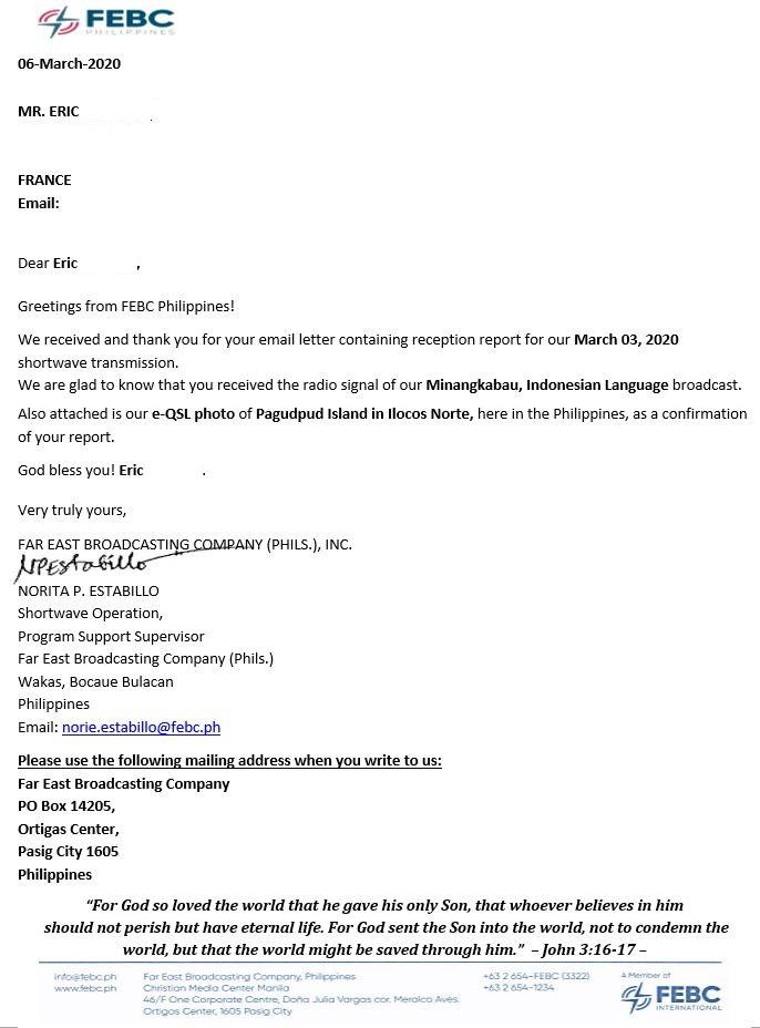 eQSL de FEBC phillipines Febc210