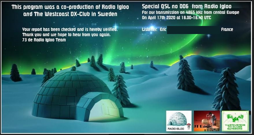 eQSL de radio IGLOO Igloo10