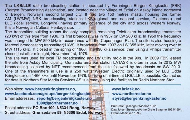 qsl de LKB LLE - Norvège Lkb210