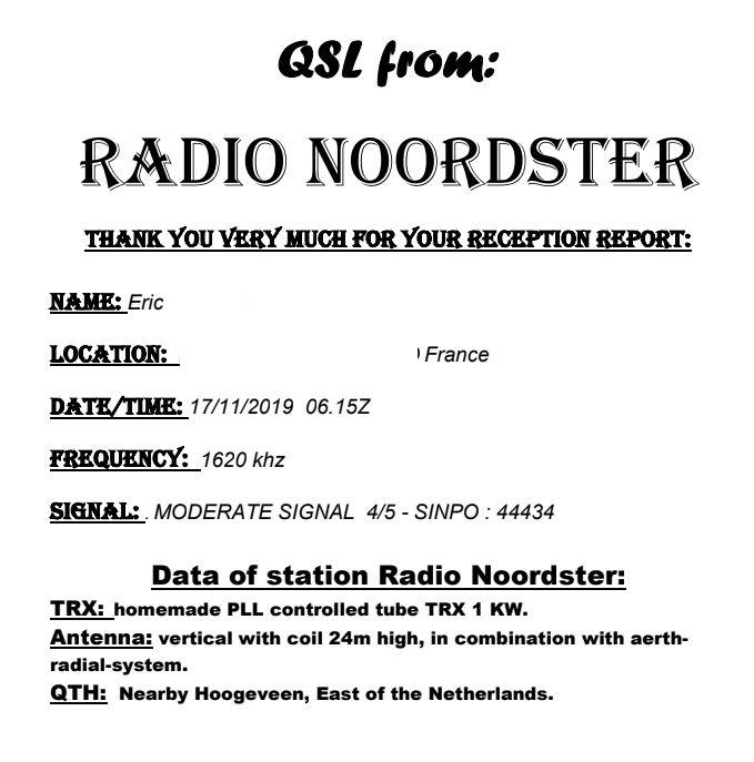 eQSL de RADIO NOORDSTER Noord10