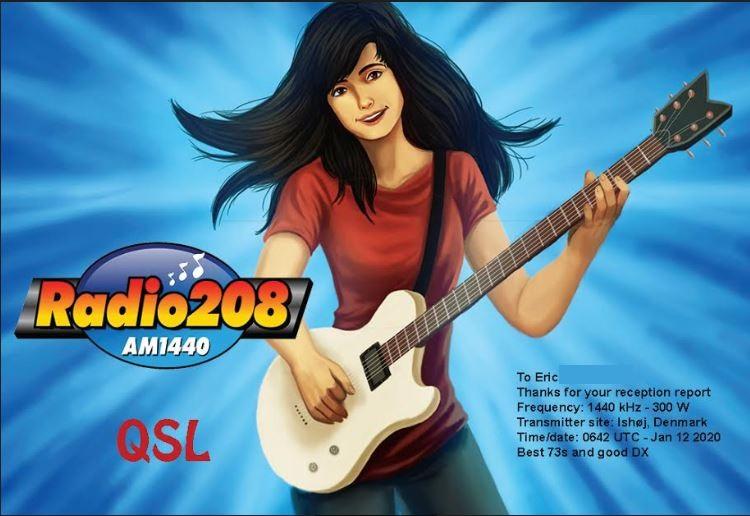 eQSL de radio 208 (Danemark) Radio210