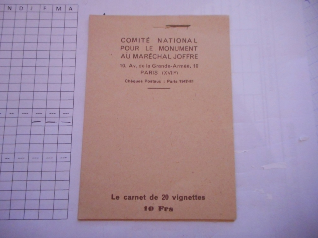 Carnet de 20 vignettes pour le monument du Maréchal JOFFRE Dscn3010