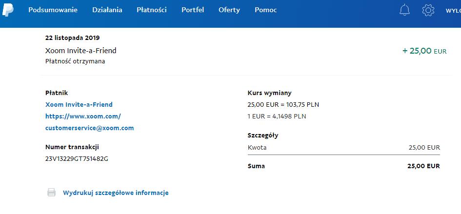 XOOM 25 euro na paypal Legol10