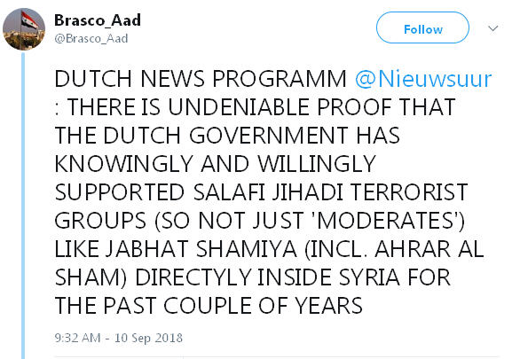 Dutch government intentionally supported Syrian terrorist organization Bang310