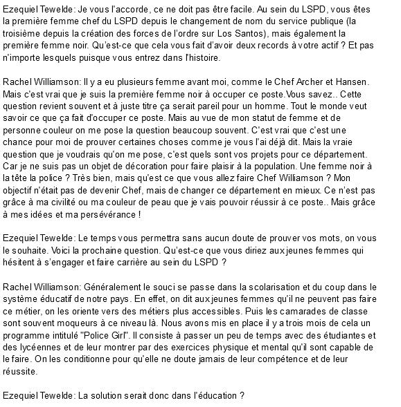 Dossier spécial LSPD - Interview écrite de la nouvelle chef du LSPD Screen55