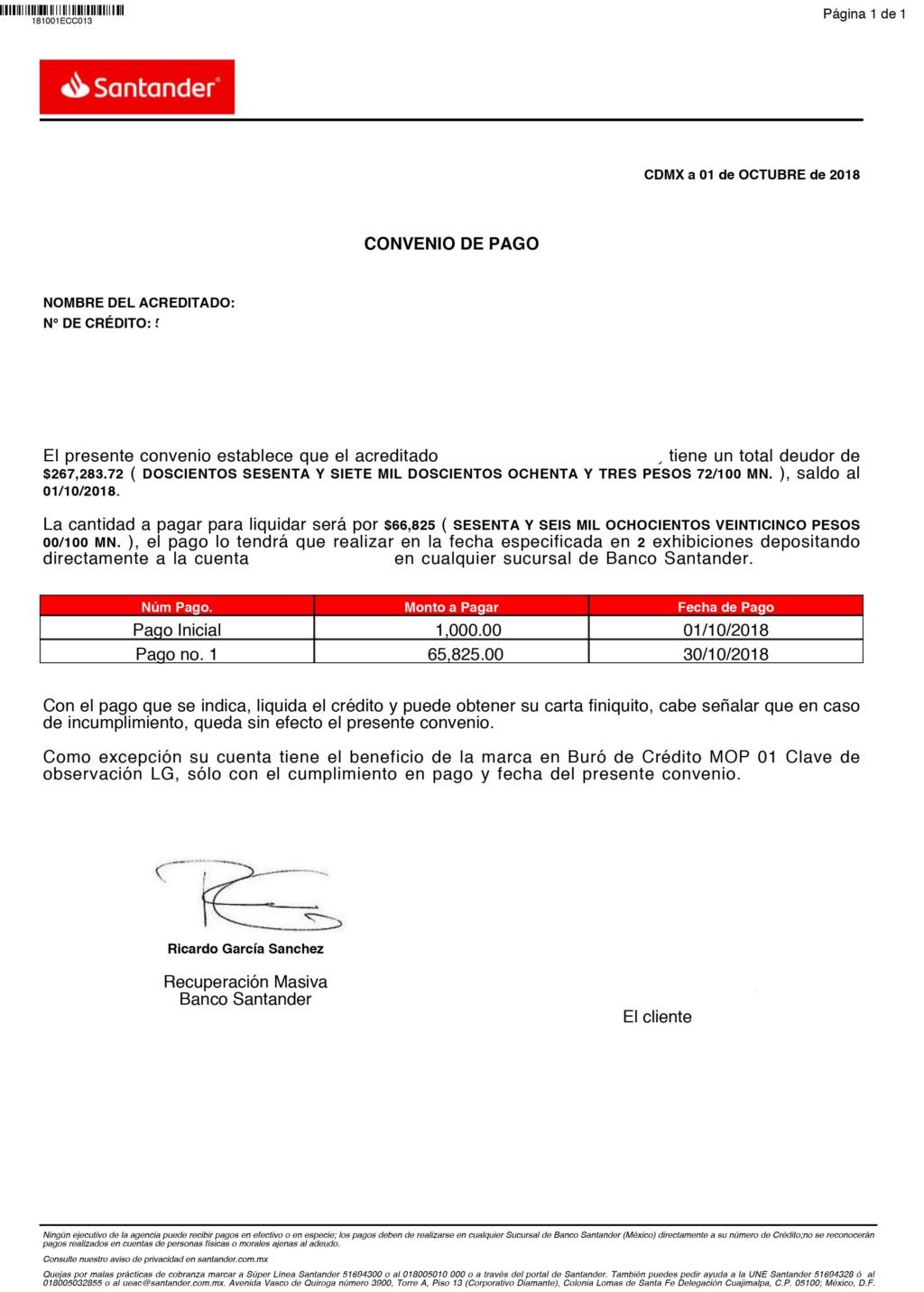 Convenio de pago con Santander 20181010