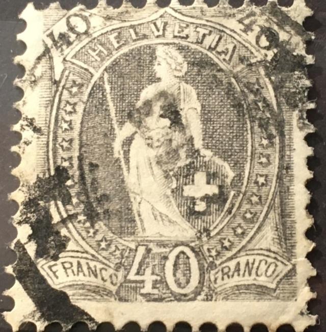 SBK 69E, Stehende Helvetia 40 Rp, grau 97d40810