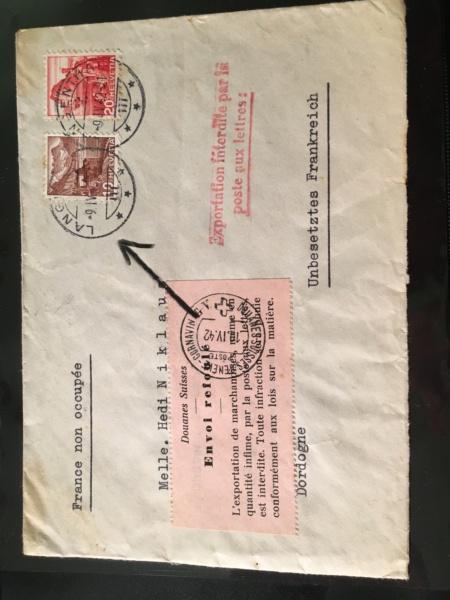 Belege aus der Schweiz, die zensiert wurden B9080210