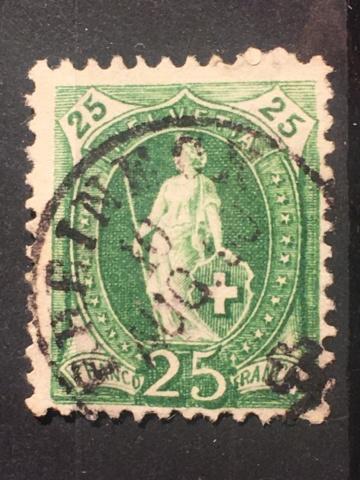 Einkreis-Stempel auf Stehender Helvetia  Image284