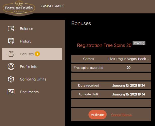 FortuneToWin kasyno online 20 darmowych spinów bez depozytu Fortun10