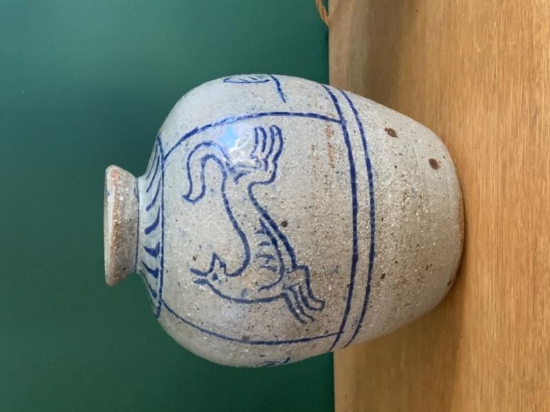 Hunting scene studio pottery vase  5ee33c10