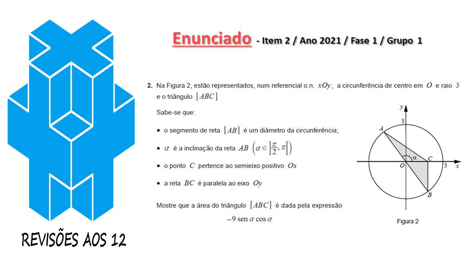 área triângulo obtusângulo c/ 2 vértices numa circunf. Slide017